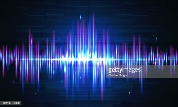 stockillustraties, clipart, cartoons en iconen met sound waves vector background - oscilloscoop