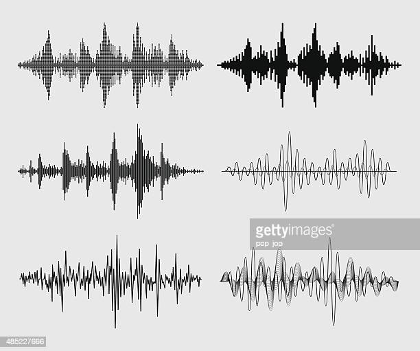 sound waves - vector set - 2015 stock illustrations