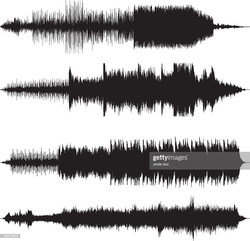sound waves waveforms sound tracks : stock illustration