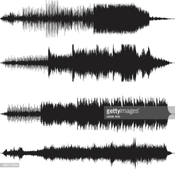 sound waves waveforms sound tracks - frequency stock illustrations