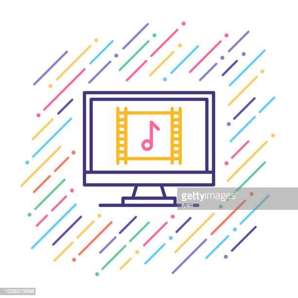 soundtrack line icon - soundtrack stock illustrations, clip art, cartoons, & icons