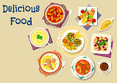 Soup and salad dishes icon for dinner menu design