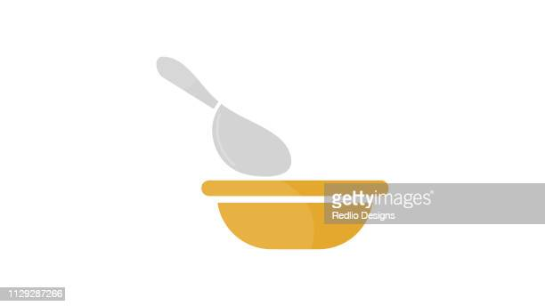 soup bowl with spoon icon - soup bowl stock illustrations