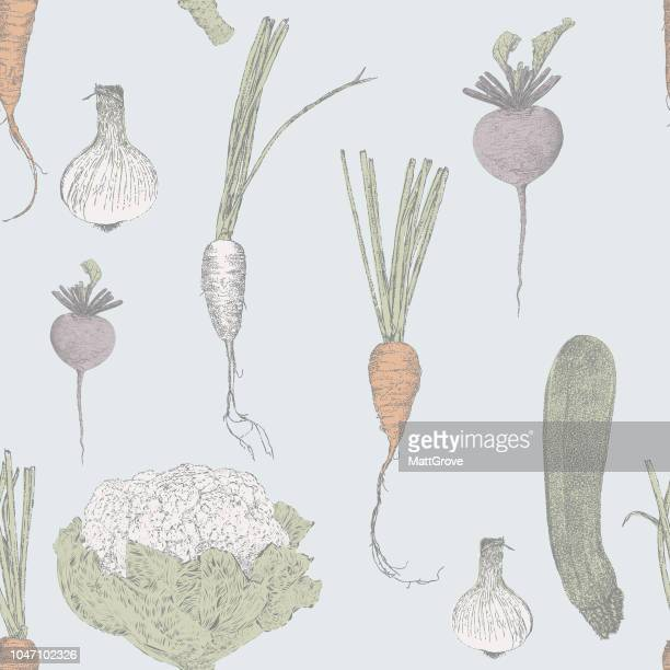 soup ingredients seamless repeat pattern - parsnip stock illustrations, clip art, cartoons, & icons