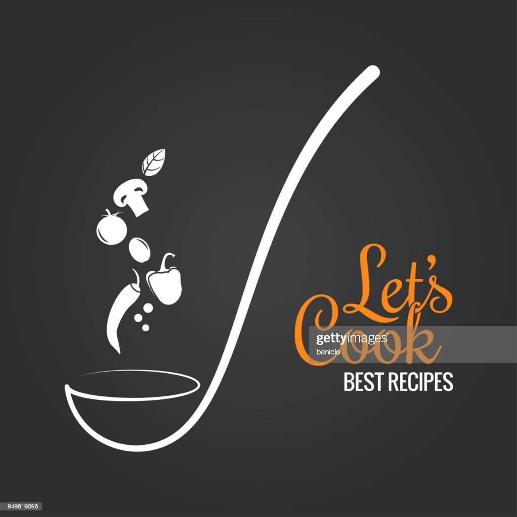 Soup ladle with flavor concept. Cooking spoon design on black background