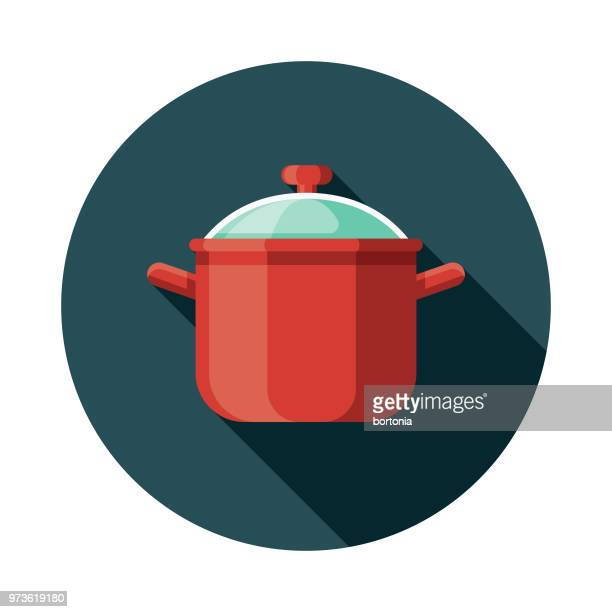 soup pot flat design kitchen utensil icon - cooking pan stock illustrations
