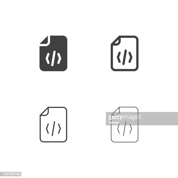 source code file icons - multi series - film script stock illustrations, clip art, cartoons, & icons