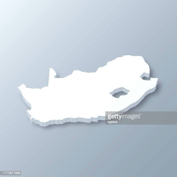South Africa 3D Map on gray background
