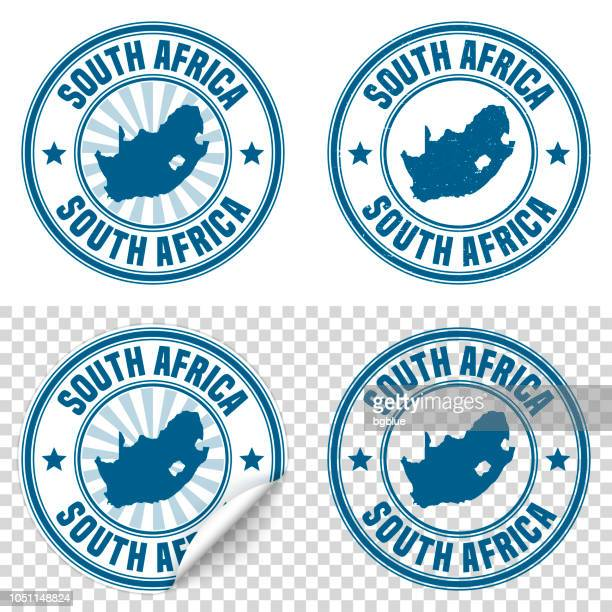 South Africa - Blue sticker and stamp with name and map