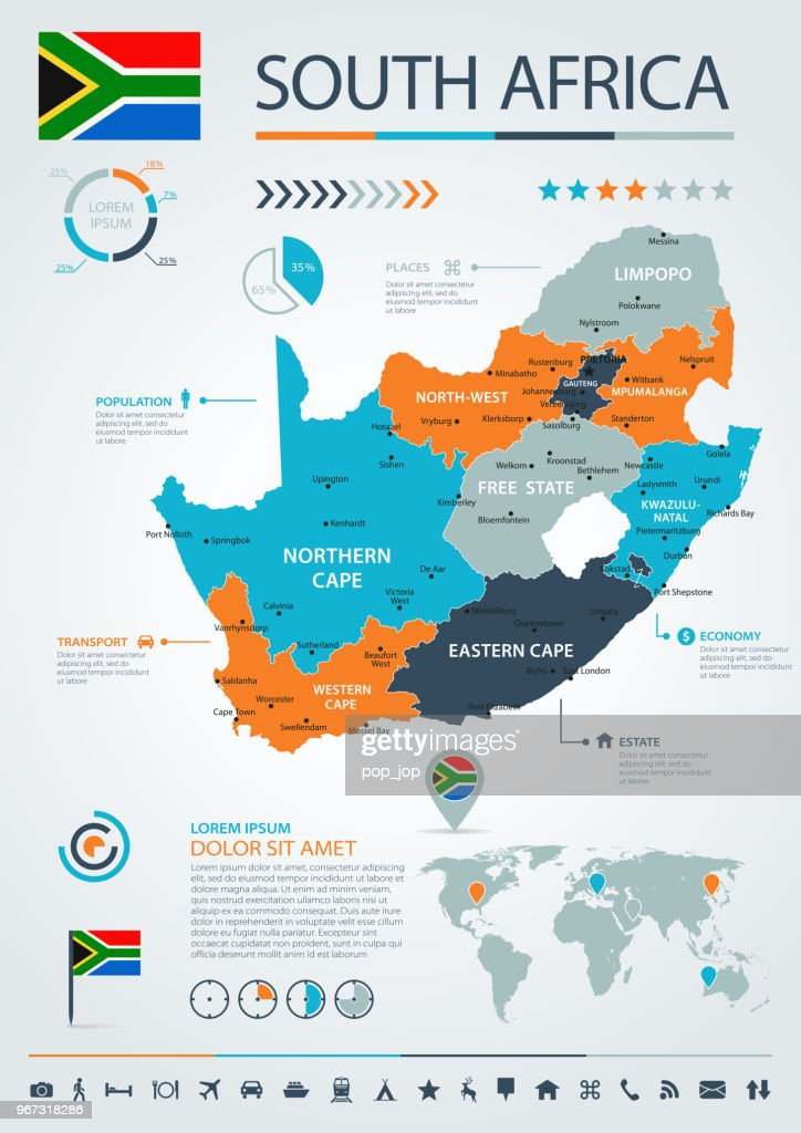 12 - South Africa - Blue-Orange Infographic 10 : stock illustration