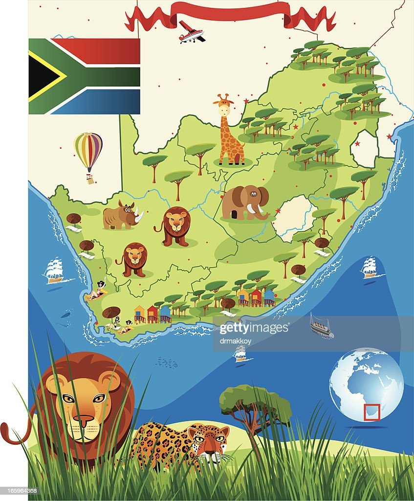 south africa map cartoon