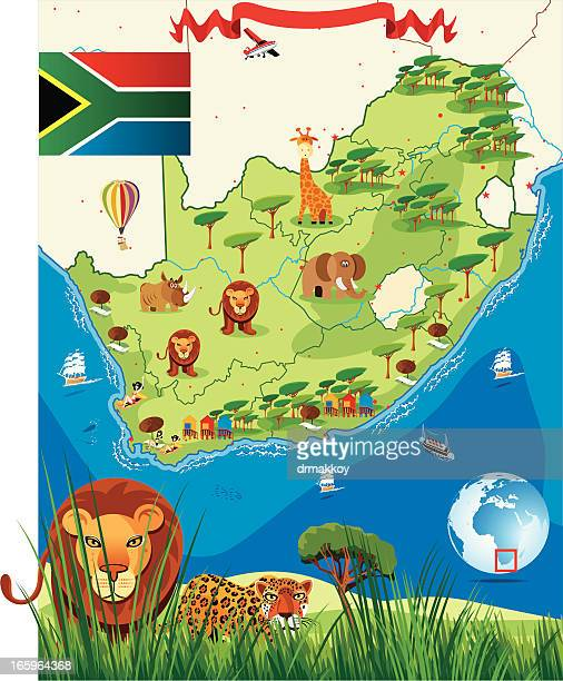 bildbanksillustrationer, clip art samt tecknat material och ikoner med south africa cartoon map - johannesburg