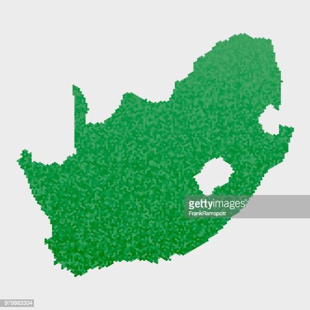 Südafrika Land Map grünen Sechseck-Muster