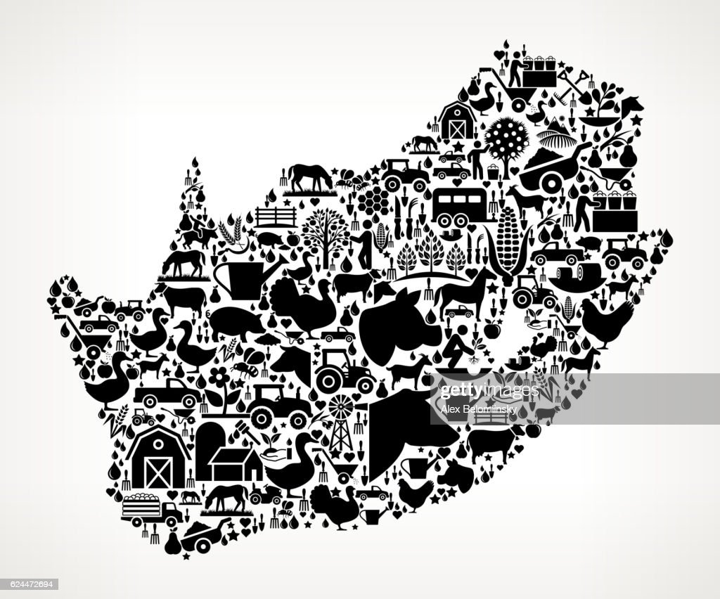 South Africa Farming and Agriculture Black Icon Pattern : stock illustration