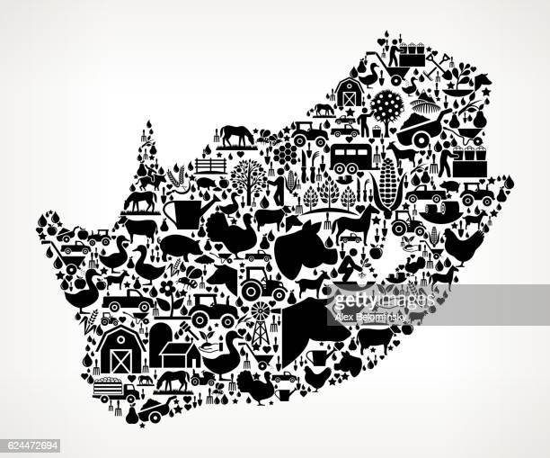 South Africa Farming and Agriculture Black Icon Pattern