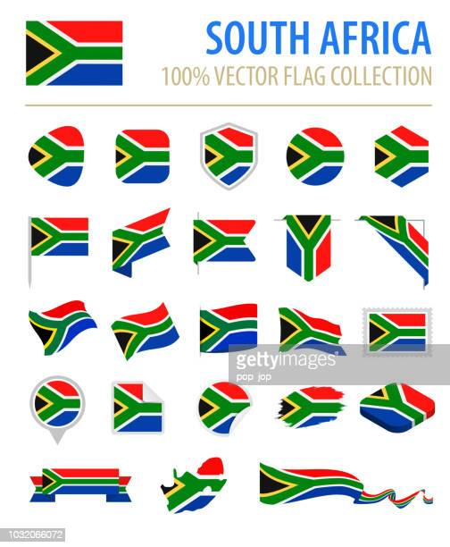 South Africa - Flag Icon Flat Vector Set