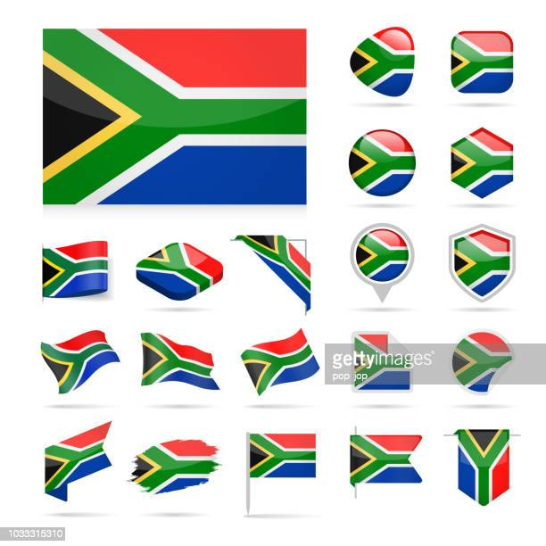 South Africa - Flag Icon Glossy Vector Set