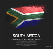 South Africa Flag Made of Glitter Sparkle Brush Paint Vector