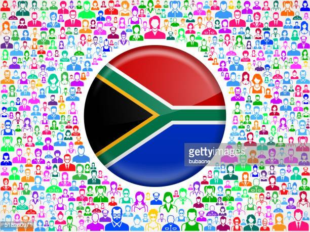 South Africa Flag on People Vector interface icon Pattern