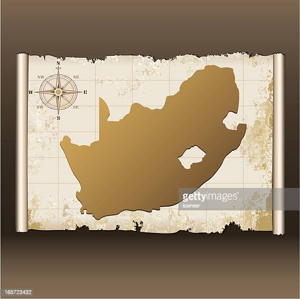 south africa grunge map on scroll - eswatini stock illustrations, clip art, cartoons, & icons