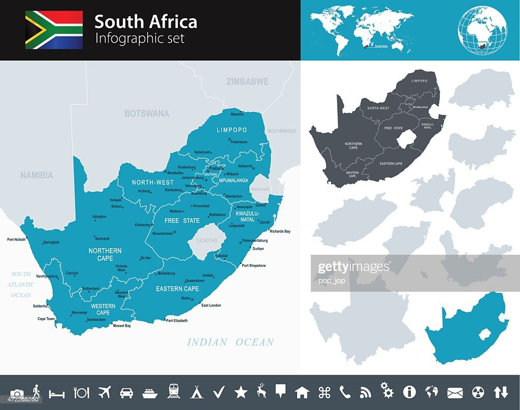 South Africa - Infographic map - illustration : stock illustration