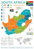 South Africa - map and flag - illustration