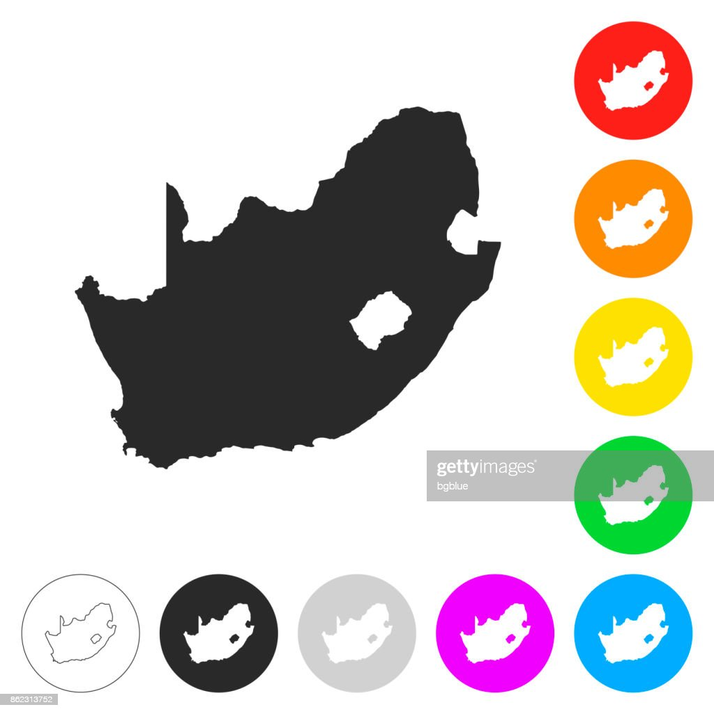 South Africa map - Flat icons on different color buttons : stock illustration