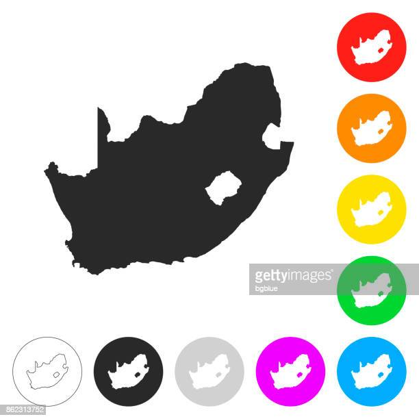 South Africa map - Flat icons on different color buttons
