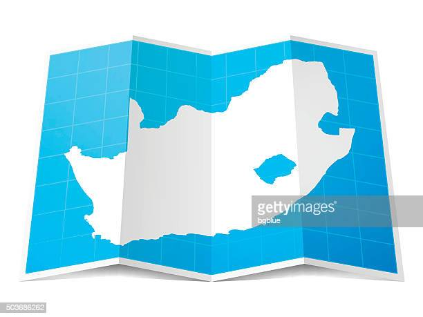 South Africa Map folded, isolated on white Background