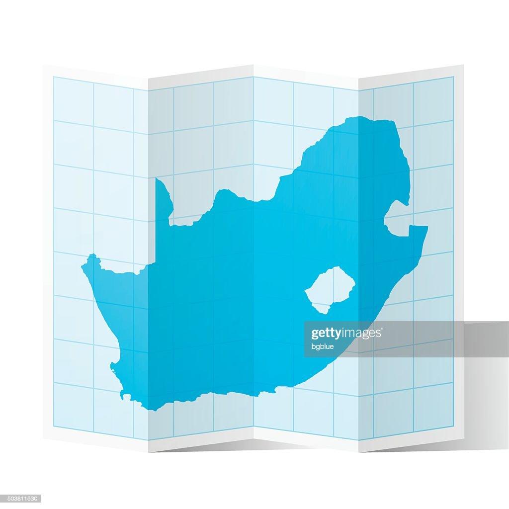 South Africa Map folded, isolated on white Background : stock illustration