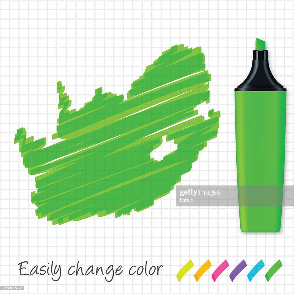 South Africa map hand drawn on grid paper, green highlighter : stock illustration