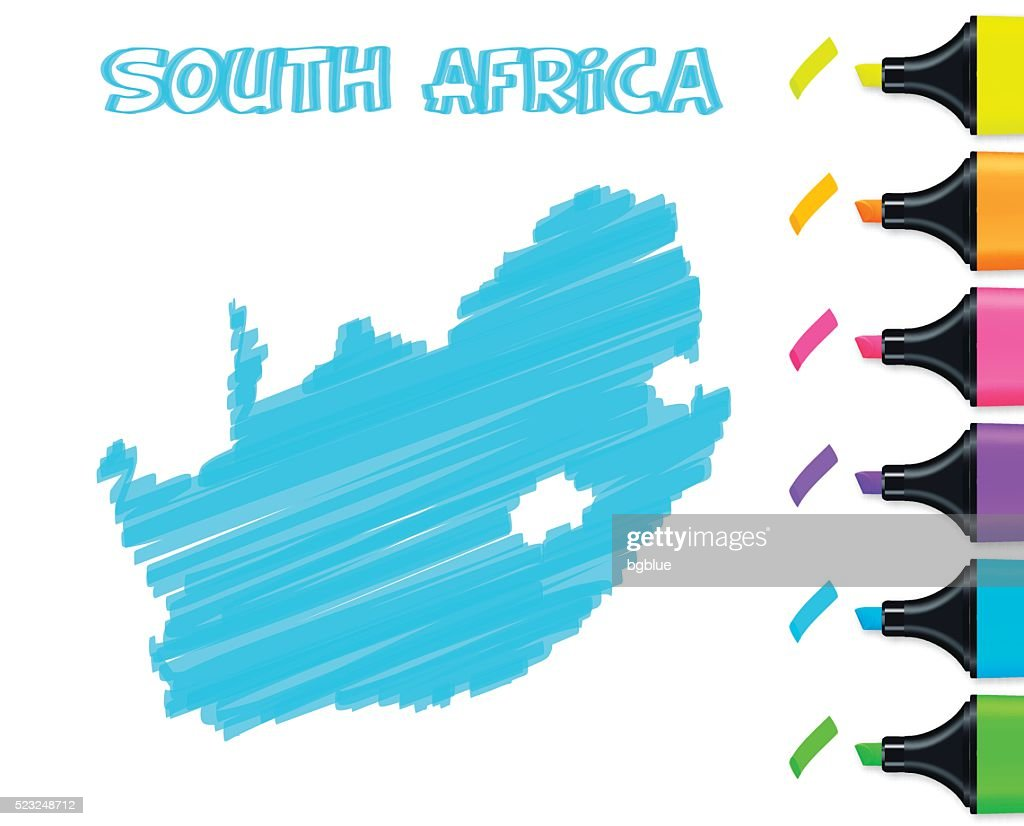 South Africa map hand drawn on white background, blue highlighter : stock illustration