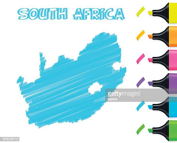 South Africa map hand drawn on white background, blue highlighter