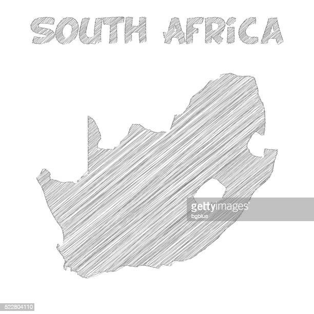bildbanksillustrationer, clip art samt tecknat material och ikoner med south africa map hand drawn on white background - johannesburg