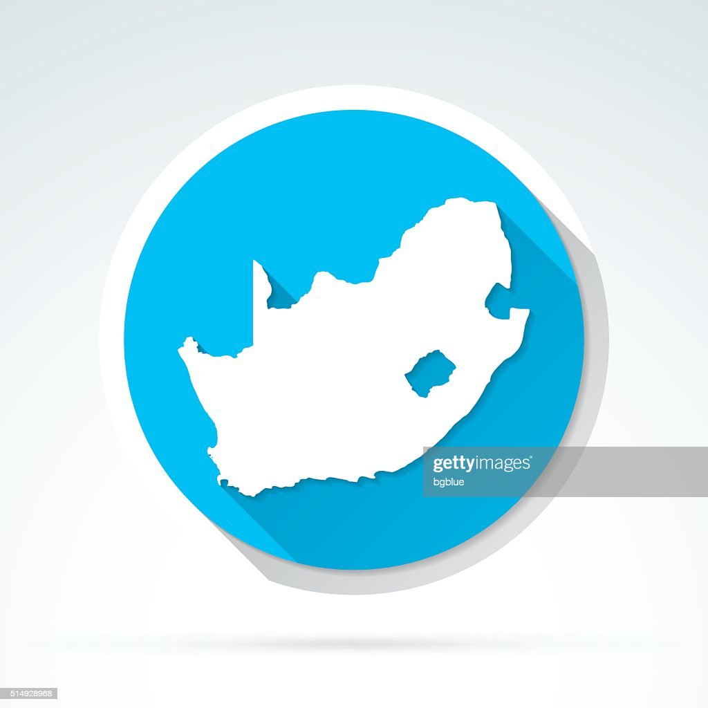 South Africa map icon, Flat Design, Long Shadow : stock illustration