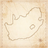 South Africa map in retro vintage style - old textured paper