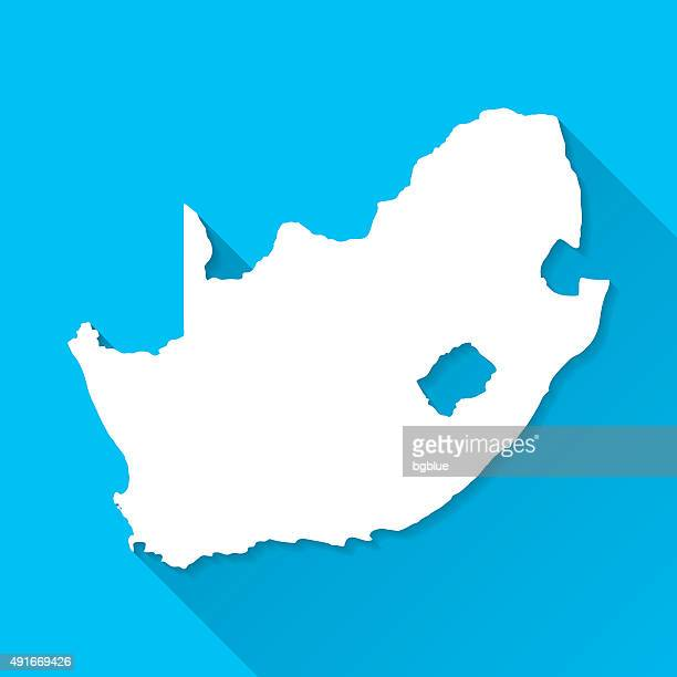 South Africa Map on Blue Background, Long Shadow, Flat Design