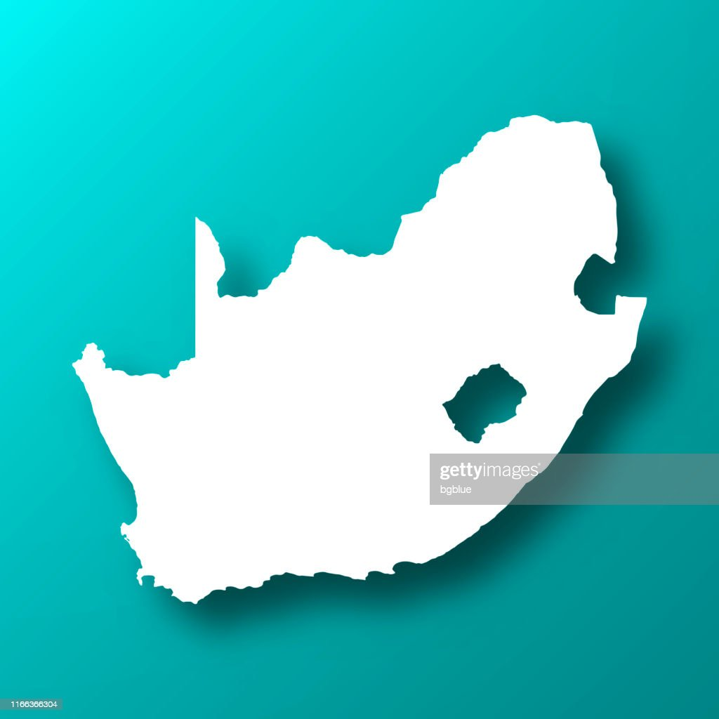 South Africa map on Blue Green background with shadow : stock illustration
