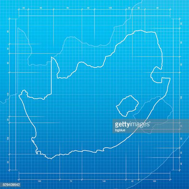 South Africa map on blueprint background