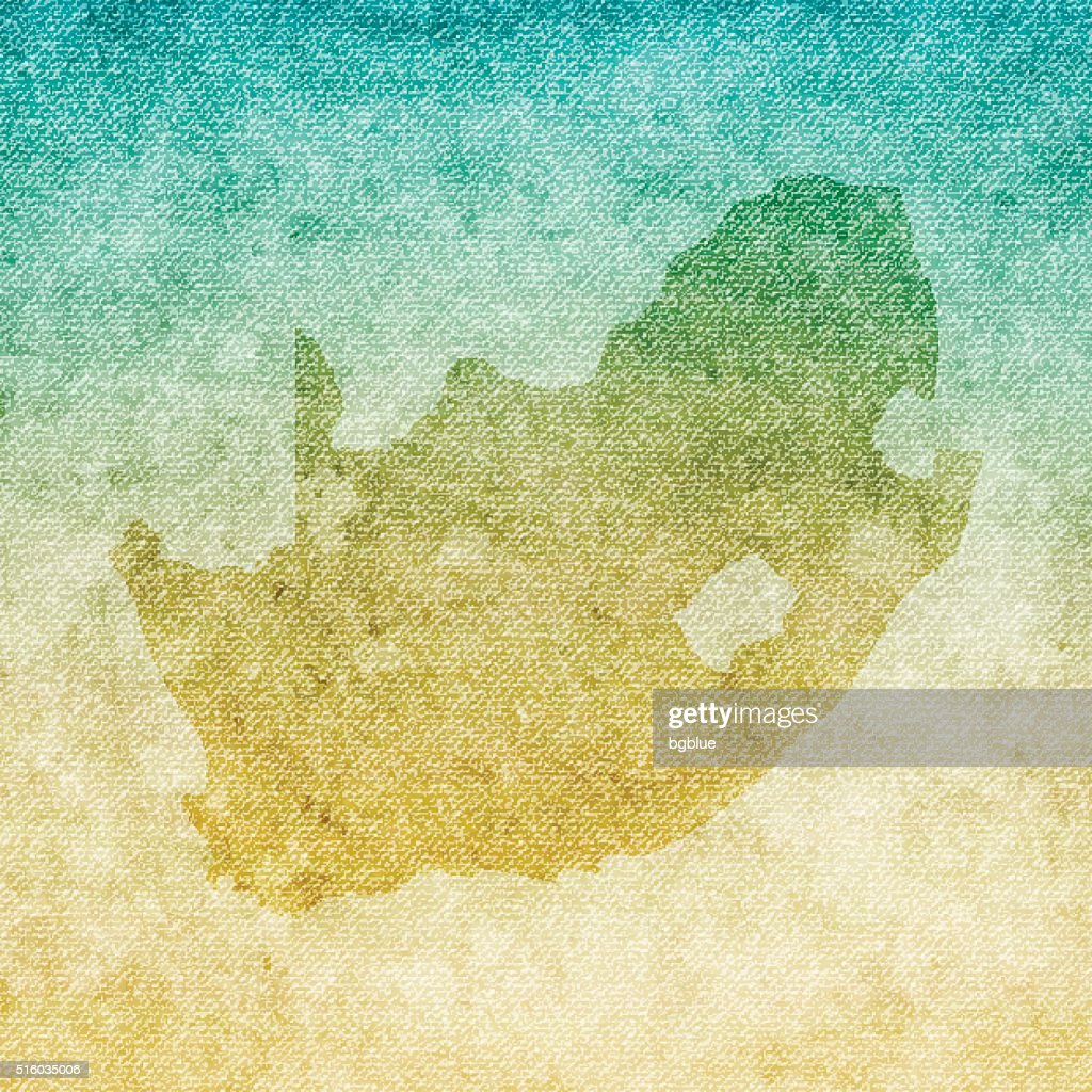 South Africa Map on grunge Canvas Background : stock illustration