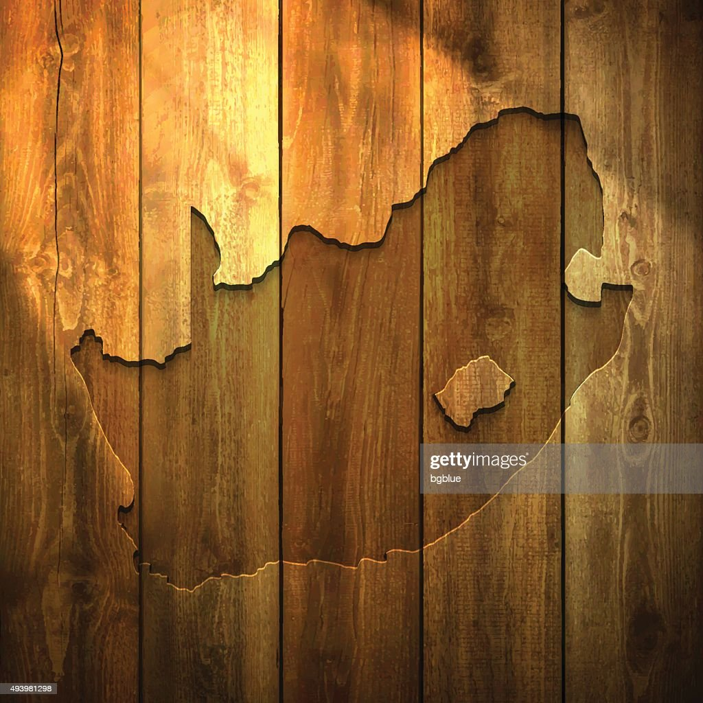 South Africa Map on lit Wooden Background : stock illustration