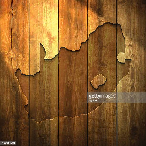 South Africa Map on lit Wooden Background