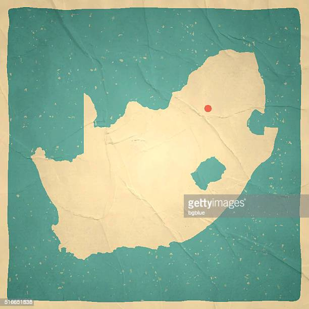 South Africa Map on old paper - vintage texture