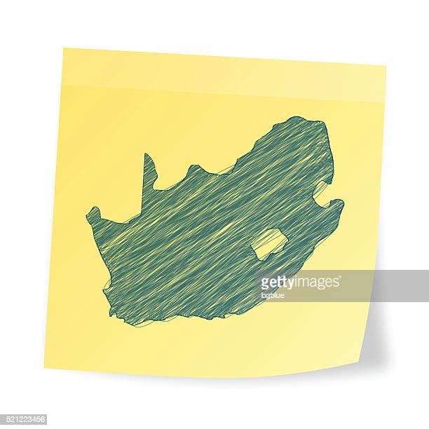 South Africa map on sticky note with scribble effect