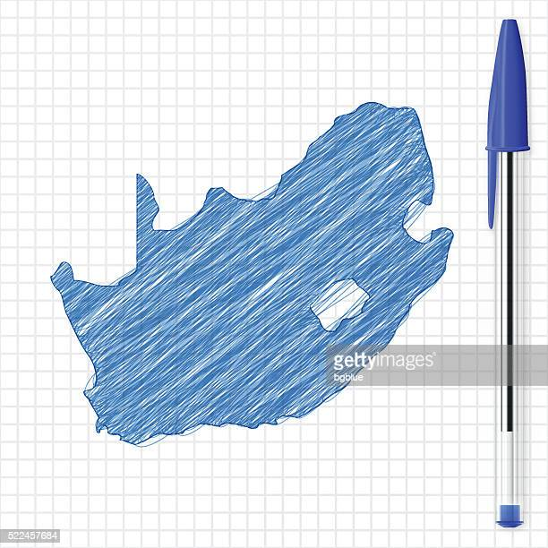 South Africa map sketch on grid paper, blue pen