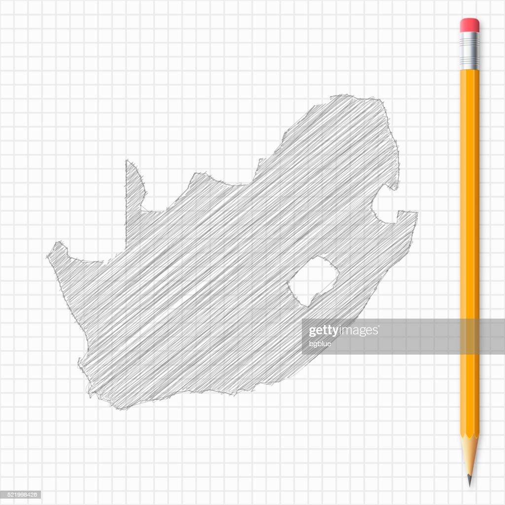 Map Of Africa Drawing.South Africa Map Sketch With Pencil On Grid Paper Stock Illustration