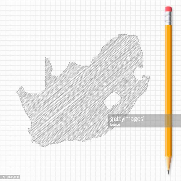 South Africa map sketch with pencil on grid paper