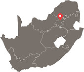 South Africa map vector outline with provinces or states borders and capital location, Pretoria, in gray background. Highly detailed accurate map of South Africa