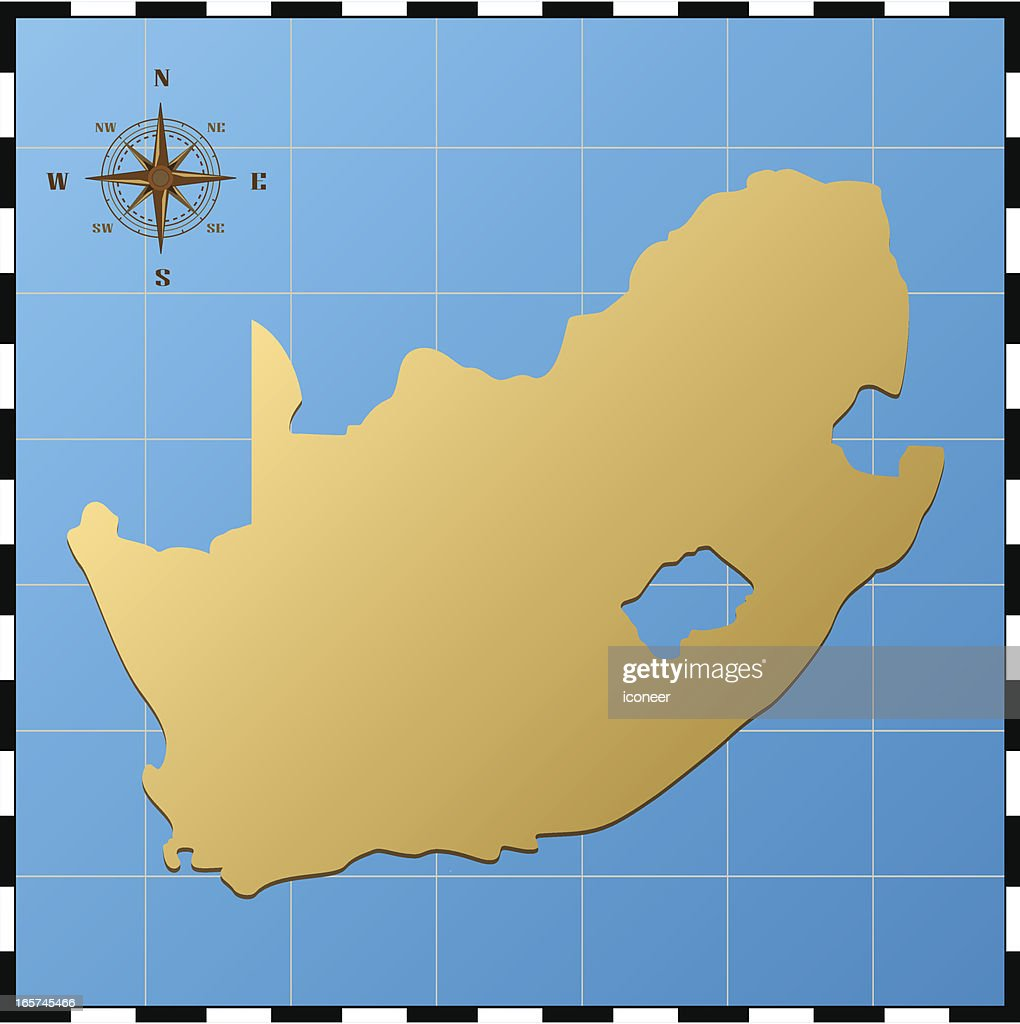 Süd Afrika Karte Mit Kompass Rose Stock-Illustration - Getty ...
