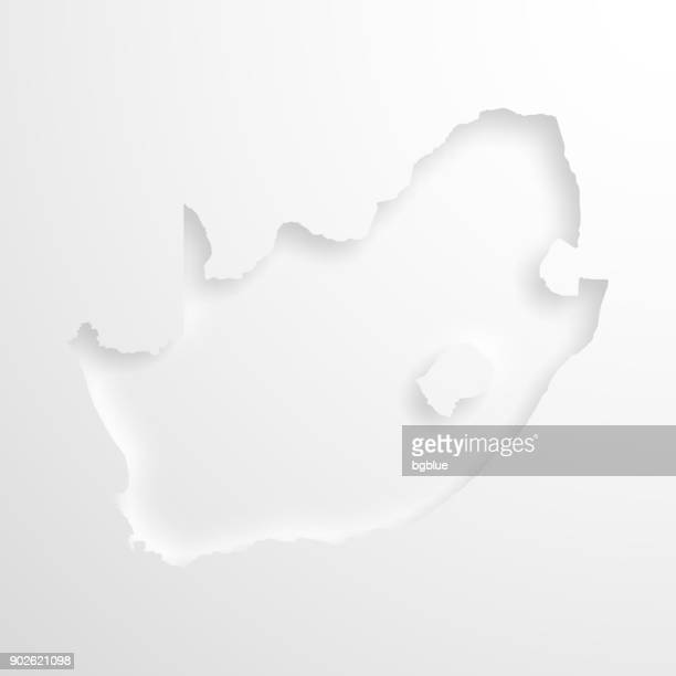 South Africa map with embossed paper effect on blank background